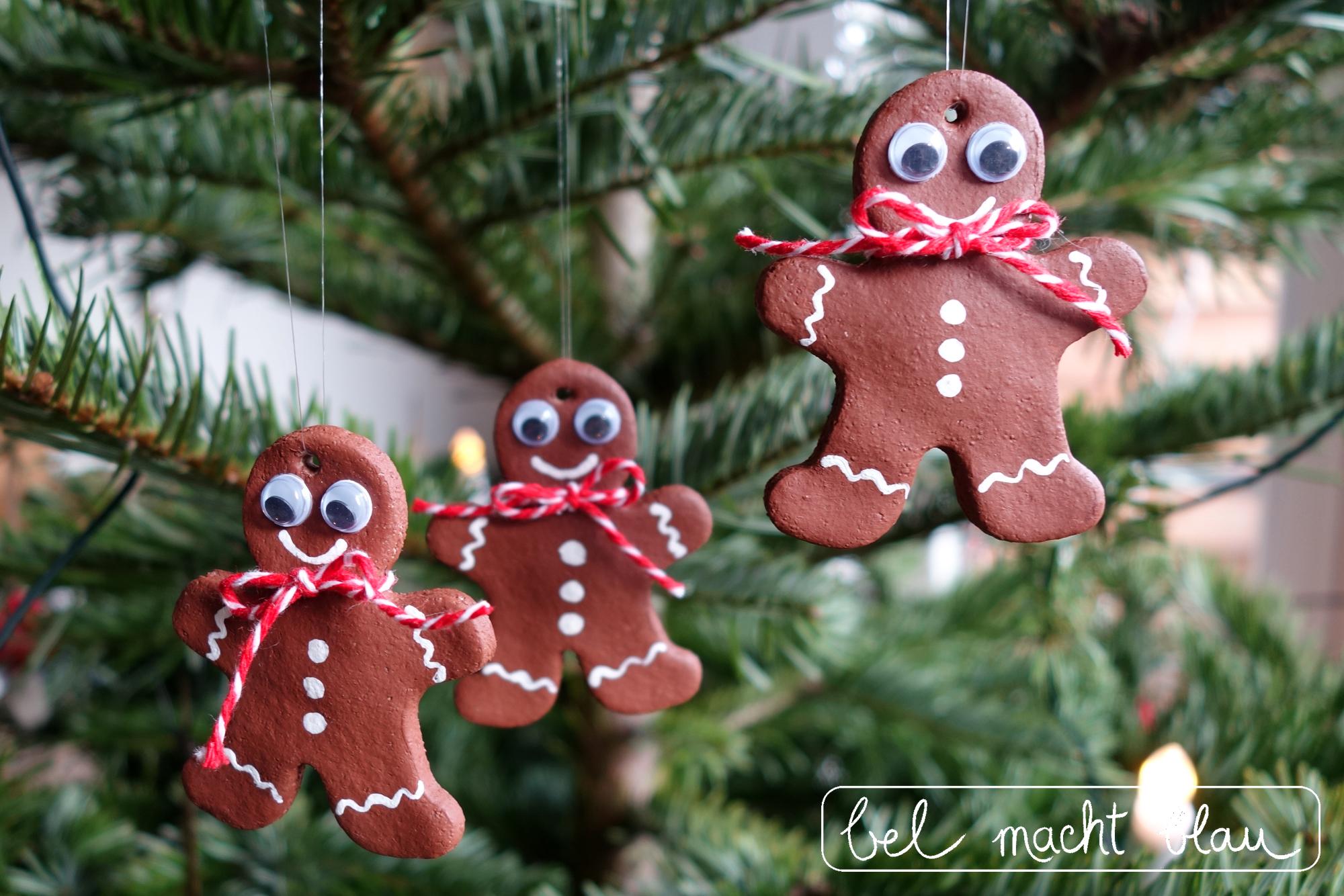 Weihnachtsbaumschmuck: Lustige Lebkuchenmänner aus Salzteig mit Wackelaugen