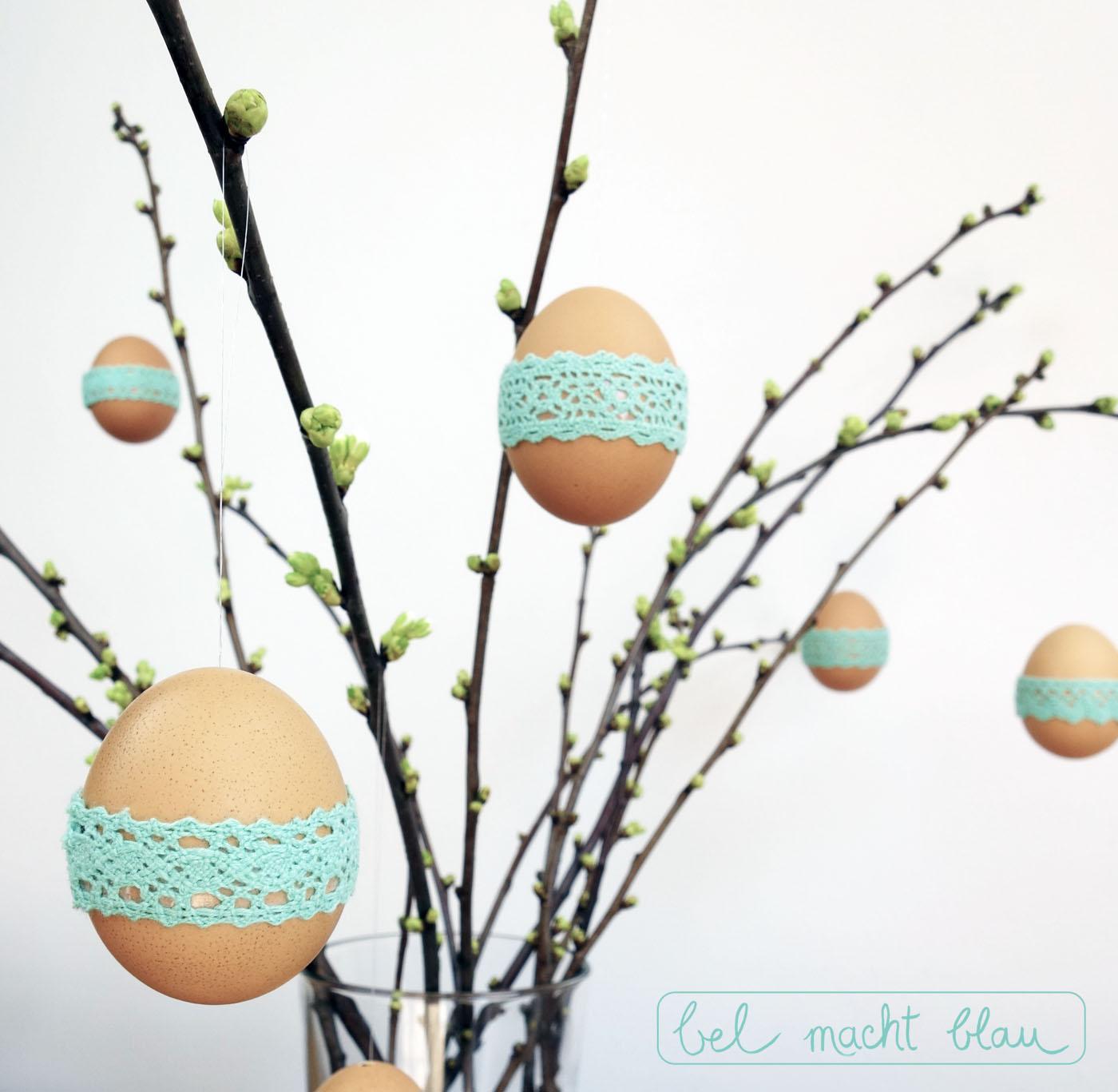 Bastelanleitung für 5-Minuten-Eier-Deko mit mintgrüner Spitze