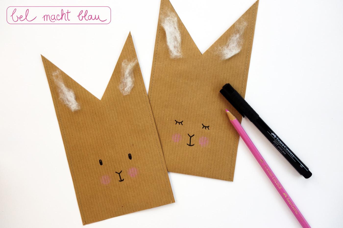 Packpapiertüten mit einem süßen Häschen-Gesicht