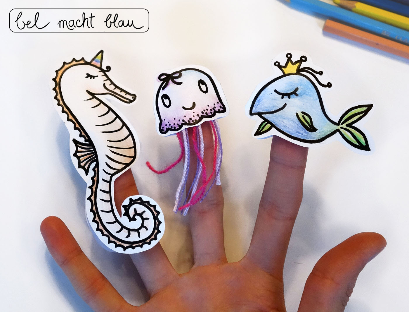 Meerestiere als Fingerpuppen - Druckvorlage und Fotoanleitung