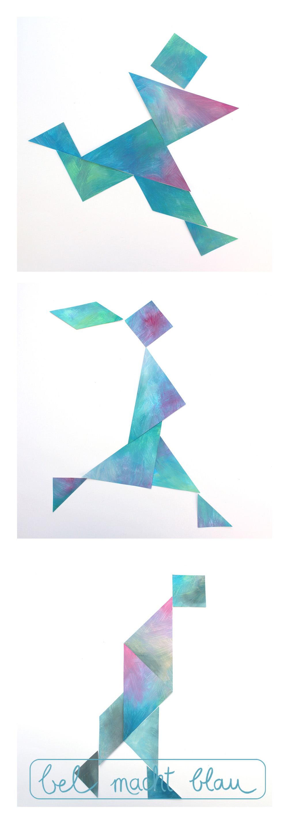 Tangram-Kunst: eine Serie von mehreren Figuren wirkt besonders gut.