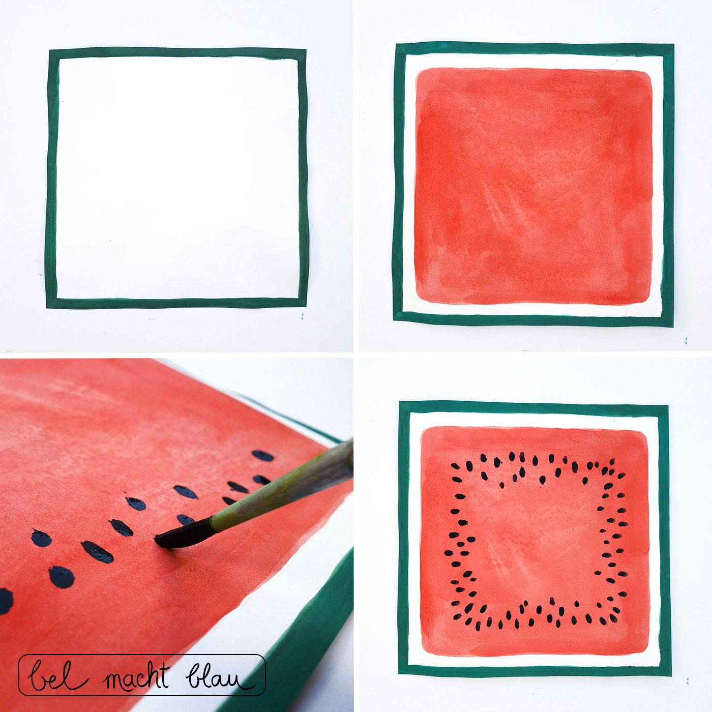 Malen Schritt-für-Schritt: eckige Wassermelone