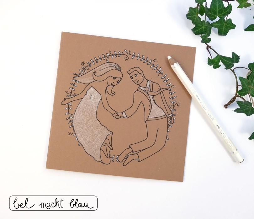 Hochzeitskarte / Glückwünschkarte basteln / Freebie