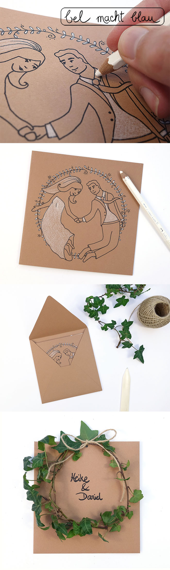 """Freebie und Bastelanleitung: Hochzeitskarte / Glückwunschkarte """"Das Brautpaar"""""""